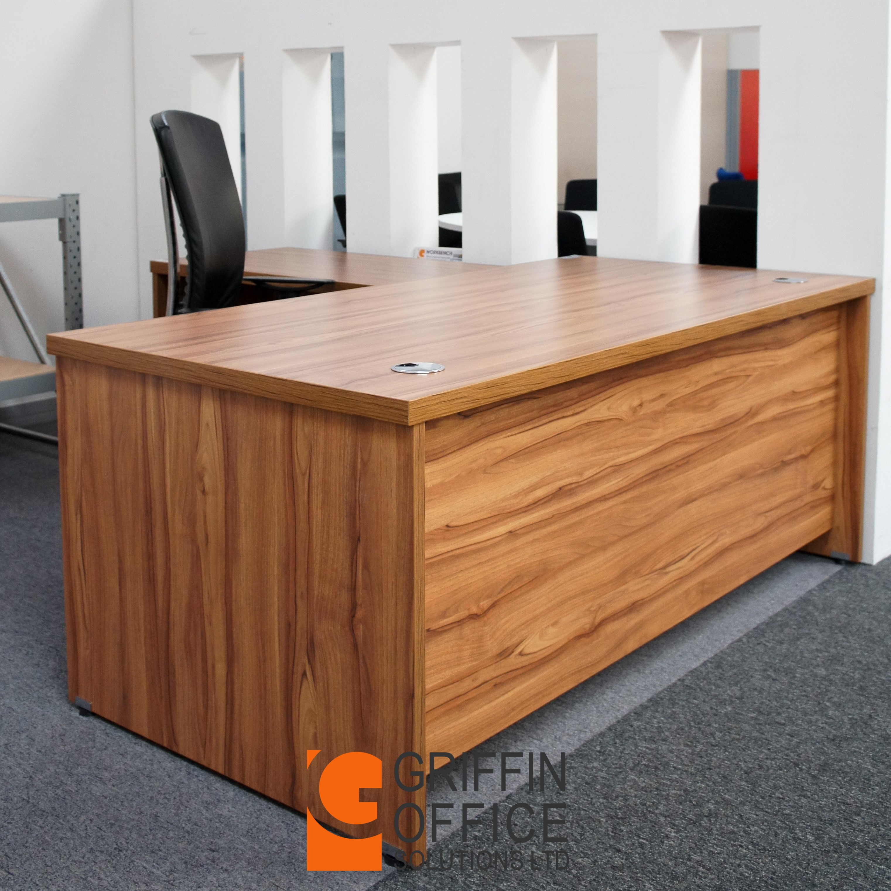 office executive multi desk product solutions walnut griffin rectangular funtional