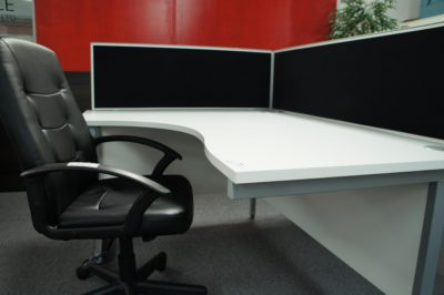 White radial desks