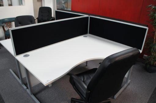 White radial desks