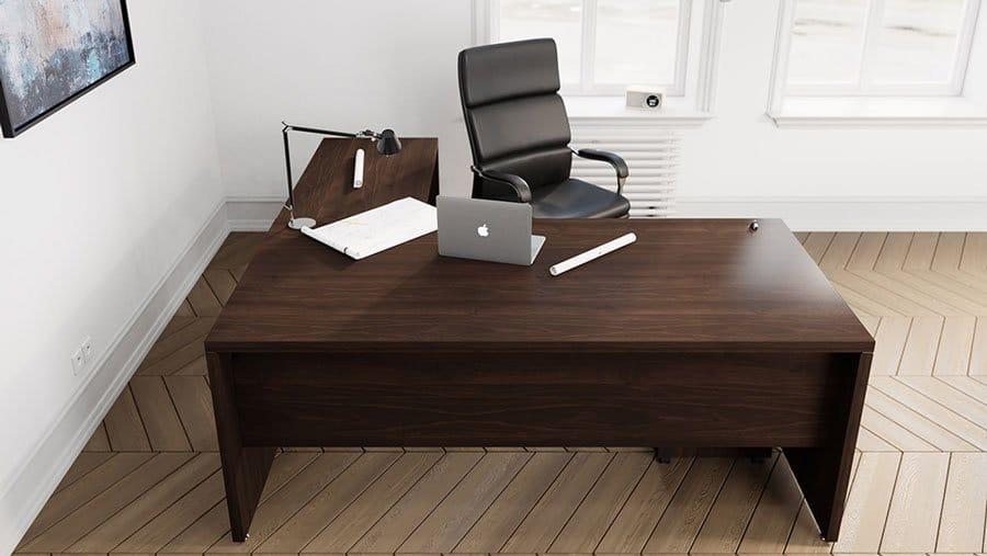 Fermo Range Executive Desk Walnut Finish Griffin Office