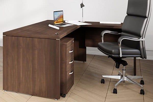 Fermo Range Executive Desk Walnut Finish closeup Griffin Office
